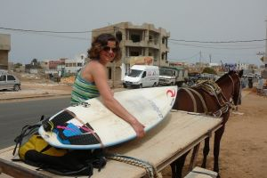 local style transport to a surfspot in Senegal