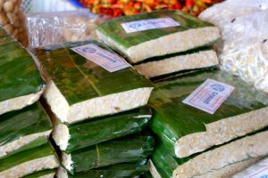 tempeh sold in banana leaves on the market in Bali, Indonesia
