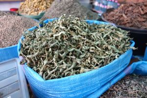 lemon verbena - lemon beebrush - dried leaves sold from bags on Moroccan market