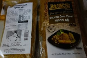 Unroasted curry powder in Weligama supermarket in Sri Lanka