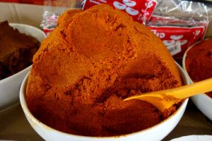red curry paste on the market in Thailand