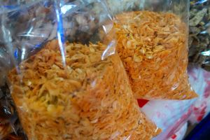 Dried shrimps on the market in Thailand