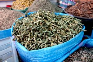 Dried lemon verbena on a traditional moroccan market souk