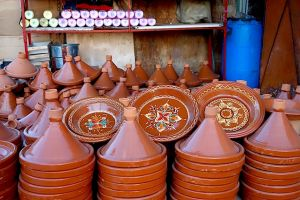 Tagines sold in the streets of Morocco