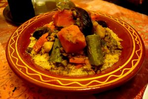 Authentic Moroccan couscous with beef and vegetables