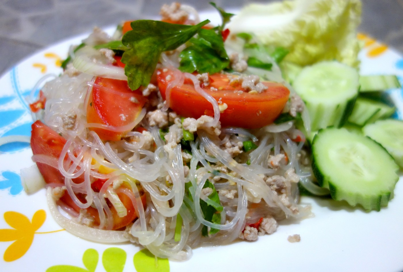 Yum Woon Sen Glass Noodle Salad With Minced Pork