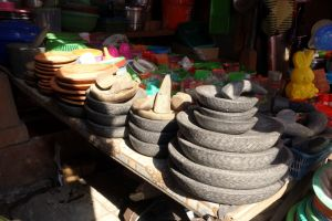 Traditional Indonesian mortars (chobek) sold on the market in Bali, Indonesia - by Authentic World Food